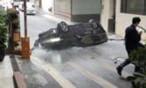 广州:轿车从中国大酒店3楼飞出