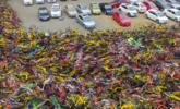 南京:私家车被上万辆共享单车包围