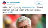 重磅!意媒曝安切洛蒂将成为意大利新主帅