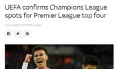 欧足联确认规则 一种情况下英超仍可以5队进欧冠