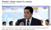 国米主席:国米在中国有2.2亿球迷 目标欧冠四强