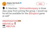 比利时球队主教练:孔帕尼可以出战英格兰