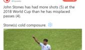 沉着!斯通斯世界杯射门次数比传球失误次数还多