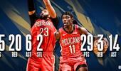 NBA官方评选今日最佳数据:浓眉与霍勒迪同时当选