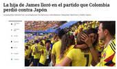 前妻携女现场观战J罗复出首战 哥伦比亚输球泣不成声