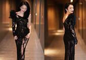 39岁女星穿黑纱透视鱼尾裙