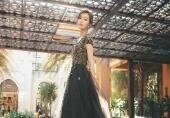 女星身穿黑色礼服裙气质高雅