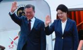 文在寅夫妇离开朝鲜返韩 带走2吨松菇