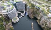 航拍深坑酒店 耗时12年花费近10亿