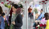 春节时期的地铁:花丛代替了人群