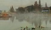 晨雾缭绕 朴实乡村美如画