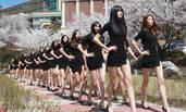 韩国模特专业女学生樱花树下上课
