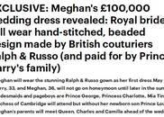 哈里王子大婚婚纱敲定,价值10万英镑!