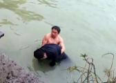 冰冷早晨 南昌县两男子跳入湖水中救人