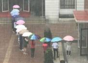 倾盆大雨中,十余老师排队为学生撑伞挡雨