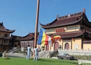 江苏东台弥陀寺举行升国旗仪式