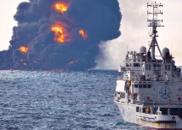 大量油污在周边海面燃烧