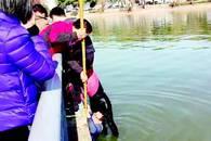 """女子湖中溺水 """"旱鸭子""""民警跳进冰水救人"""