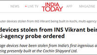 正在建造中的印度首艘国产航母,被偷了一批电脑设备