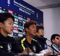 韩国队进行训练并召开发布会
