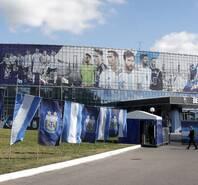 阿根廷训练备战 体育馆更换广告版迎接双鹰大战