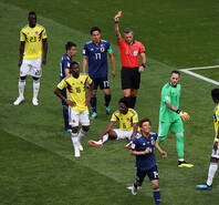 一开局就吃红点!10人哥伦比亚1-2日本