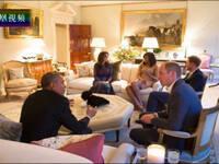 奥巴马访英像家庭聚会 温馨气氛足