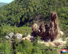 朝鲜丰溪里核试验场拆除画面
