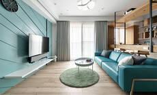 83㎡清爽蓝色调威廉希尔空间,机能完整的现代感居家