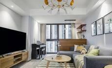 自然舒适的现代简约小家,客厅吧台设计特别有情调!