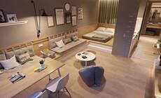 47㎡的一室公寓,如何利用地板完美切割空间?