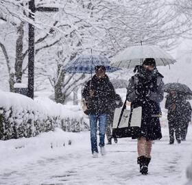 妹子依旧光腿上路 日本罕见暴雪超两米