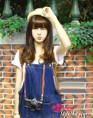齐刘海直发图片女生分享展示图片