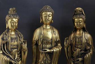 纯铜西方三圣佛像摆件