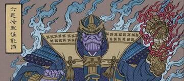 用浮世绘展现《复仇者联盟4 终局之战》角色形象