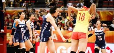 朱婷霸气重扣 中国女排3-2美国队