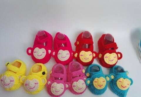 手工毛线编织宝宝小猴子毛线鞋附教程图解,真是太有趣
