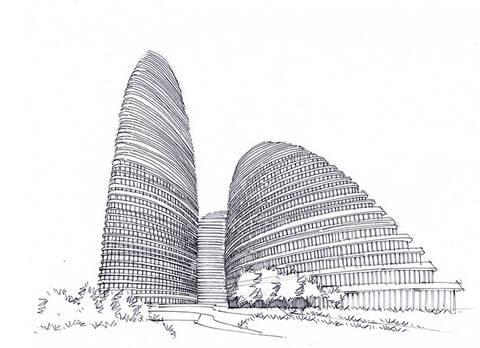 望京soho建筑手绘图带步骤图可临摹带马克昆明手绘培训