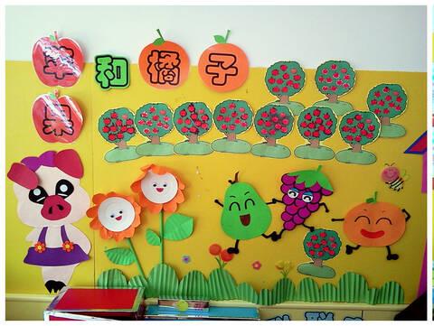 也可以放进小动物手里的水果筐里,墙饰上还有小动物围在一起分享水果