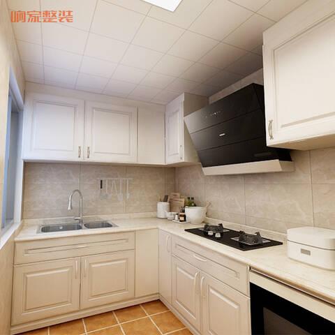 厨房整体还是欧式风格,整体橱柜和布置都有所体现;地面瓷砖选择了深色
