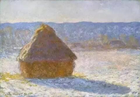 (干草垛)莫奈风景画中笔触的力度美感和层次美感