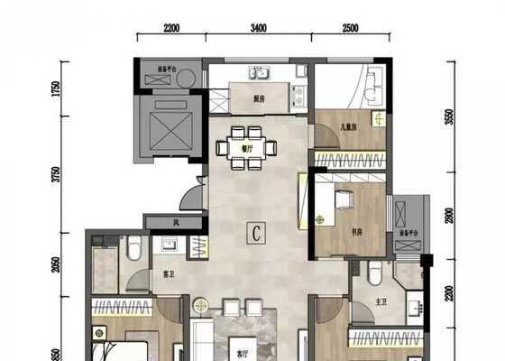 户型C建筑面积约134.21㎡