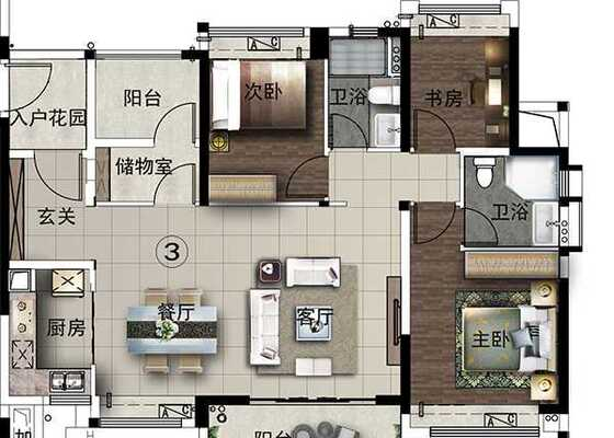 建面约115方,四室