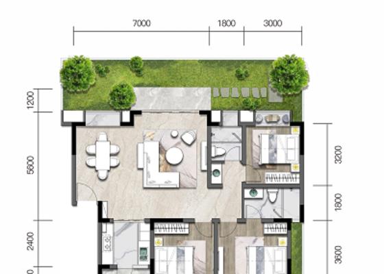 洋房E3':建面113㎡,庭院70㎡