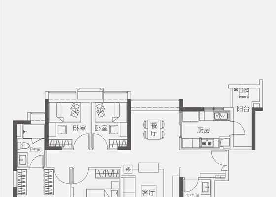 【洋房】125㎡四房两卫两厅