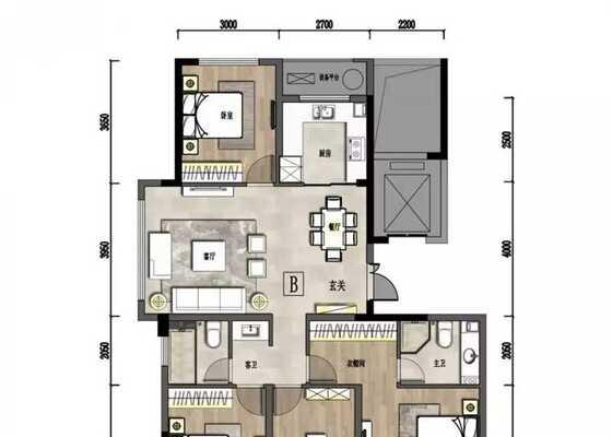 户型B建筑面积约128.94㎡