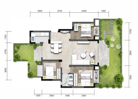 洋房D':建面97㎡,庭院45㎡