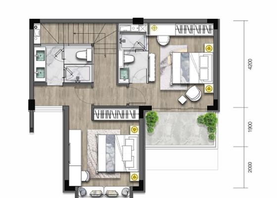 叠墅B2一层:建面65㎡,庭院24㎡