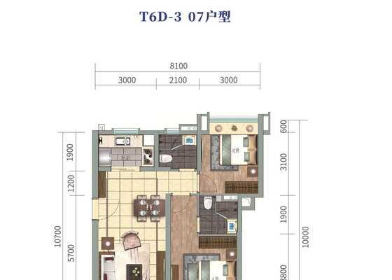 云海泽月洋房T6D-3  07户型图