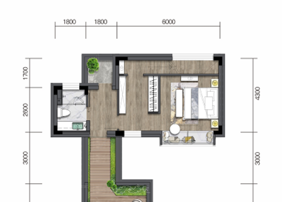 合院A1:建面87㎡,庭院60㎡